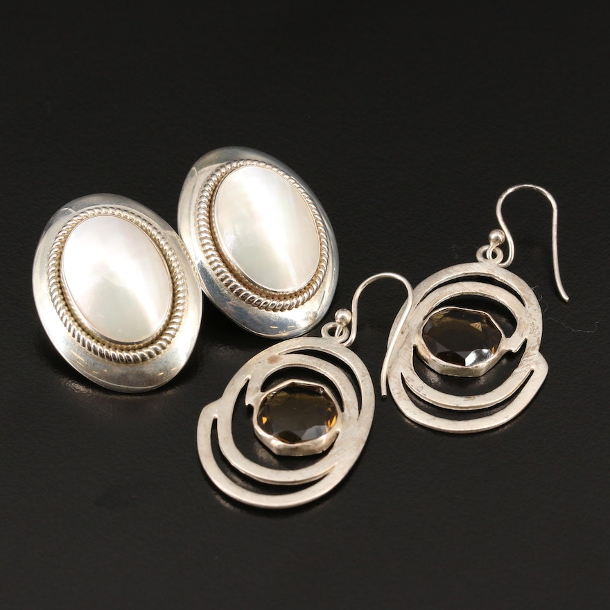 Sterling Pearl Button and Smoky Quartz Dangle Earrings