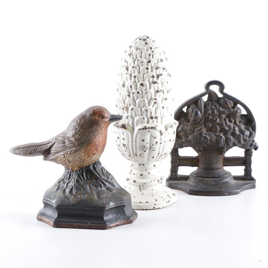 Pinecone, Bird, and Floral Bouquet Cast Iron Doorstops