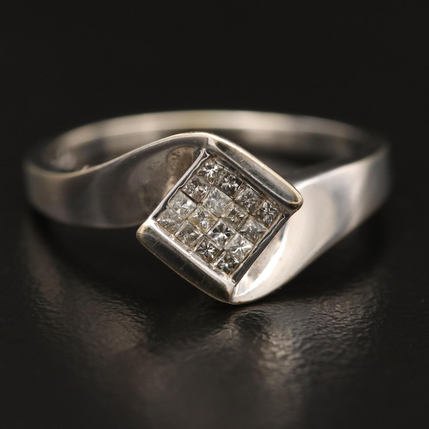 14K Diamond Ring with Bypass Cluster Design