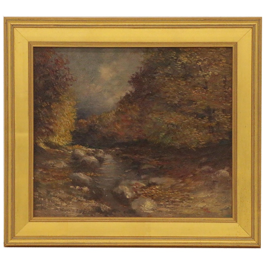 Autumnal River Landscape Oil Painting, Early 20th Century