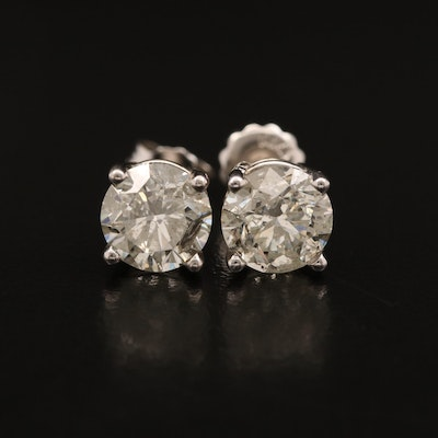 14K 2.77 CTW Diamond Solitaire Stud Earrings