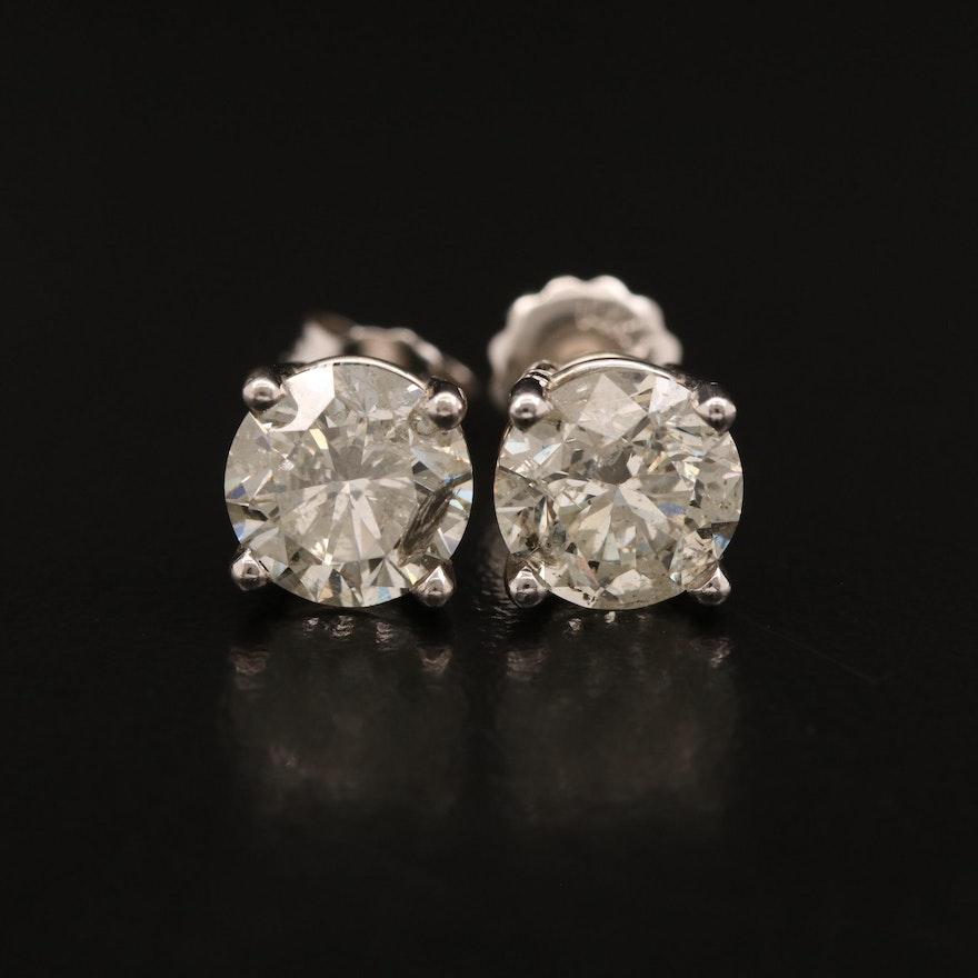 14K 2.77 CTW Diamond Solitaire Stud Earrings
