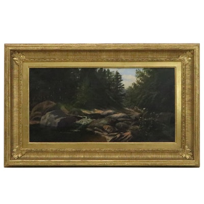Forested Landscape Oil Painting with River, Early 20th Century