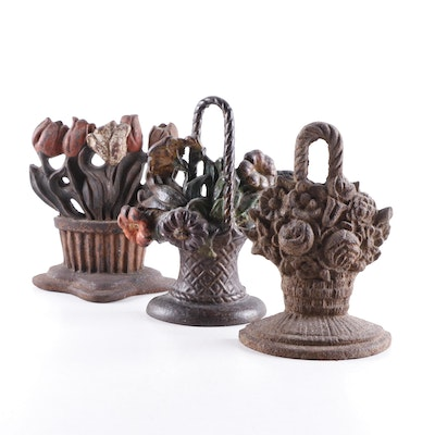 Tulip and Other Floral Bouquet Cast Iron Doorstops, Early to Mid 20th Century