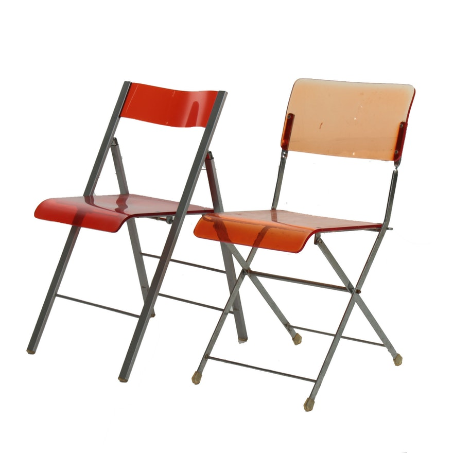 Pair of Folding Chairs with Acrylic Seats, Mid to Late 20th Century