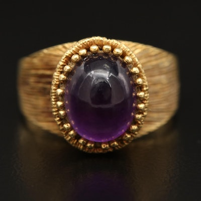 18K Amethyst Solitaire Ring