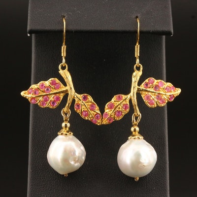 Sterling Pearl and Corundum Foliate Dangle Earrings