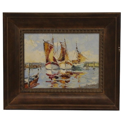 Harbor Oil Painting with Sailboats, Late 20th Century