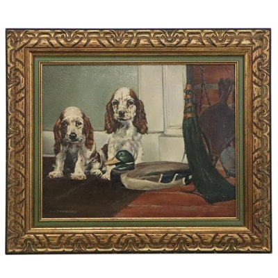 E.N. Fairchild Oil Painting of English Cocker Spaniels, Early 20th Century