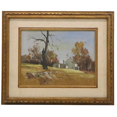 Robert Brubaker Oil Painting of Farmhouse, Late 20th Century