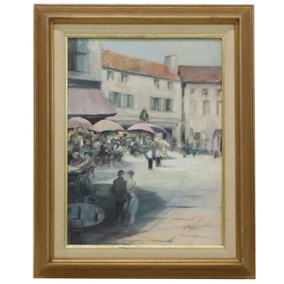 Oil Painting of Outdoor Cafe, Late 20th Century