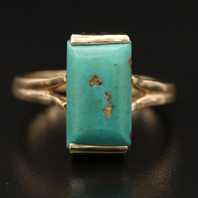 14K Turquoise Solitaire Ring