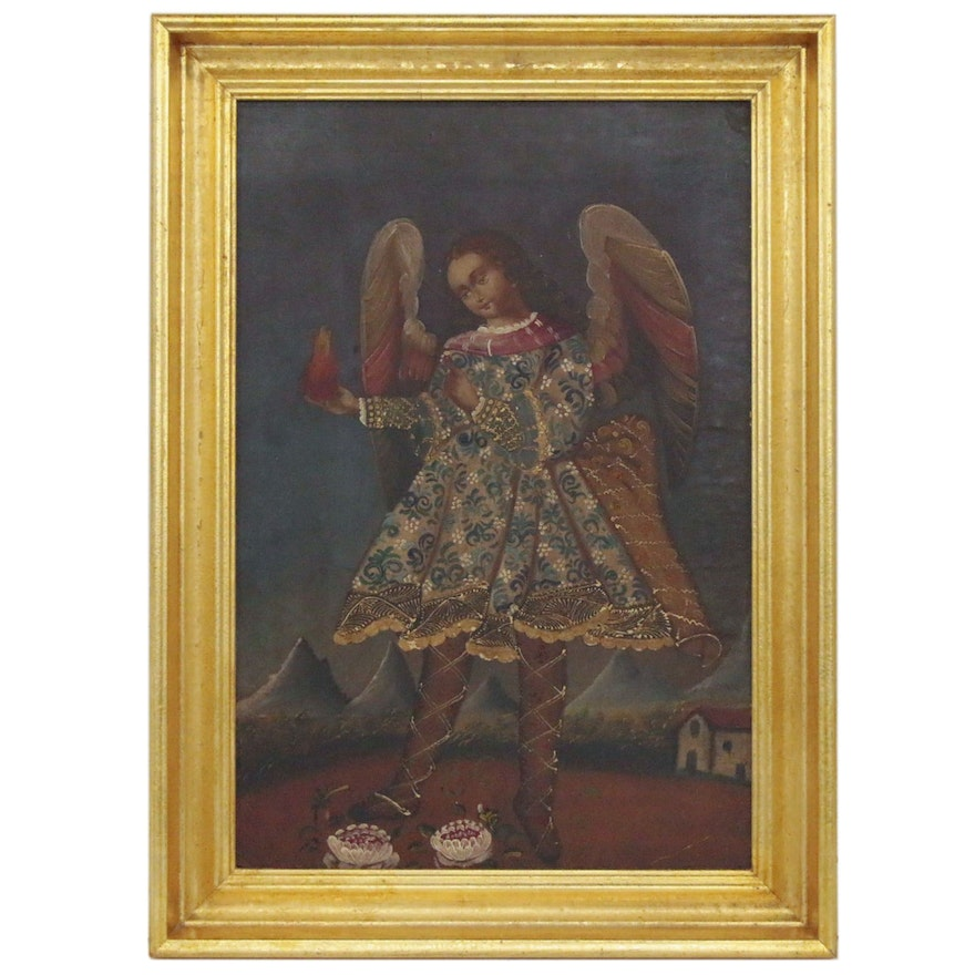 Cuzco School Style Oil Painting of Archangel Michael with Fire