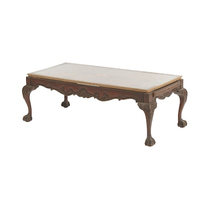 Chippendale Style Inlaid Coffee Table, Mid-20th Century