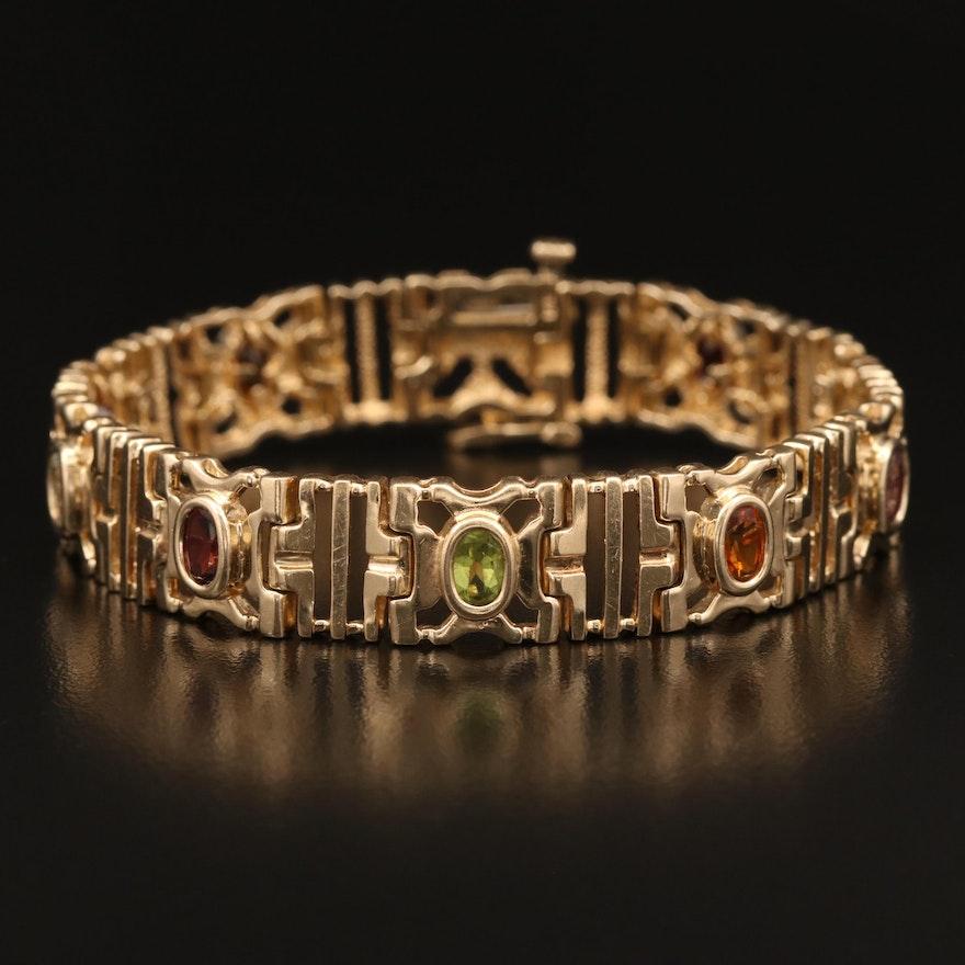 14K Gemstone Stampato Link Bracelet