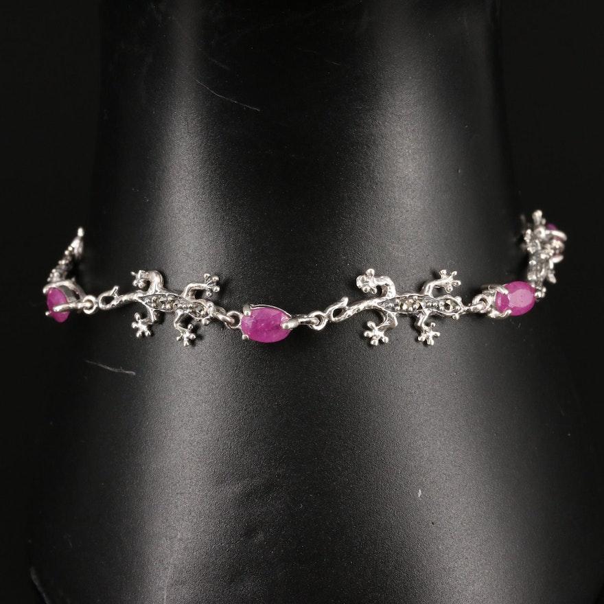 Sterling Ruby and Marcasite Lizard Link Bracelet