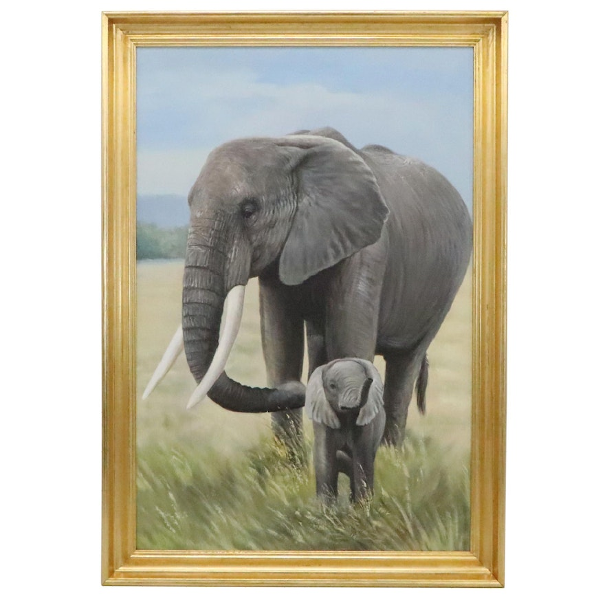 Oil Painting of Elephant with Calf, 21st Century