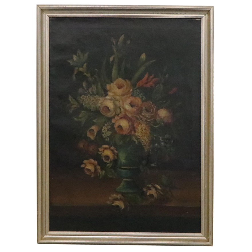Floral Still Life Oil Painting, Late 19th-Early 20th Century