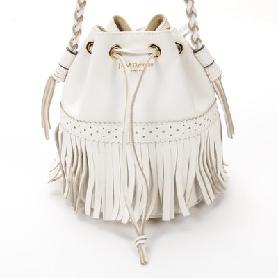 J & M Davidson Fringed Bucket Bag in in White Leather