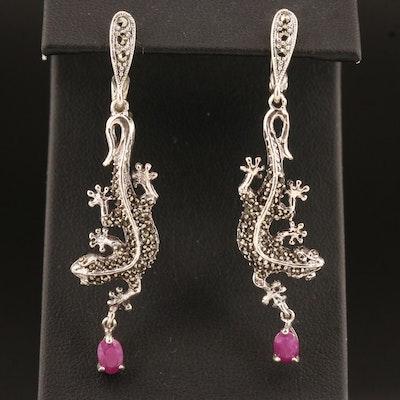 Sterling Silver Marcasite and Corundum Lizard Earrings