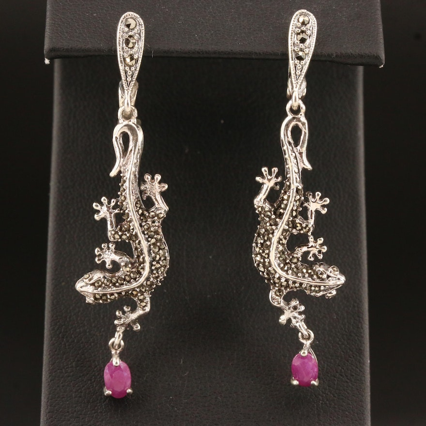 Sterling Silver Marcasite and Corundum Lizard Earrings