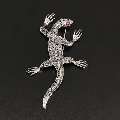 Sterling Ruby and Marcasite Lizard Brooch