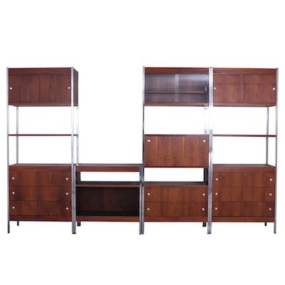 Mid Century Modern Style Modular Wood and Chrome Shelving