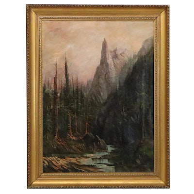 Mountainside Landscape Oil Painting with River, Early-Mid 20th Century