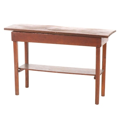 American Primitive Oak Hall Table, Early to Mid 20th Century