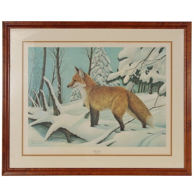 "John Ruthven Offset Lithograph ""Red Fox,"" Late 20th Century"