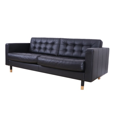 IKEA MORABO Black Tufted Leather Studio Sofa