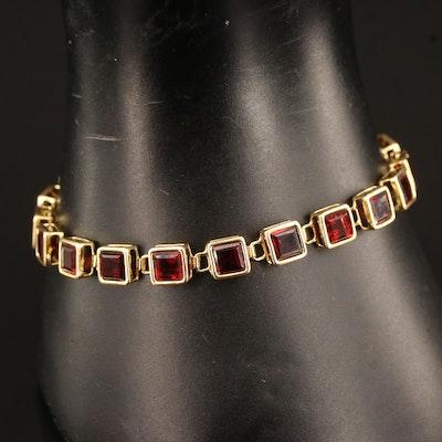14K Garnet Link Bracelet