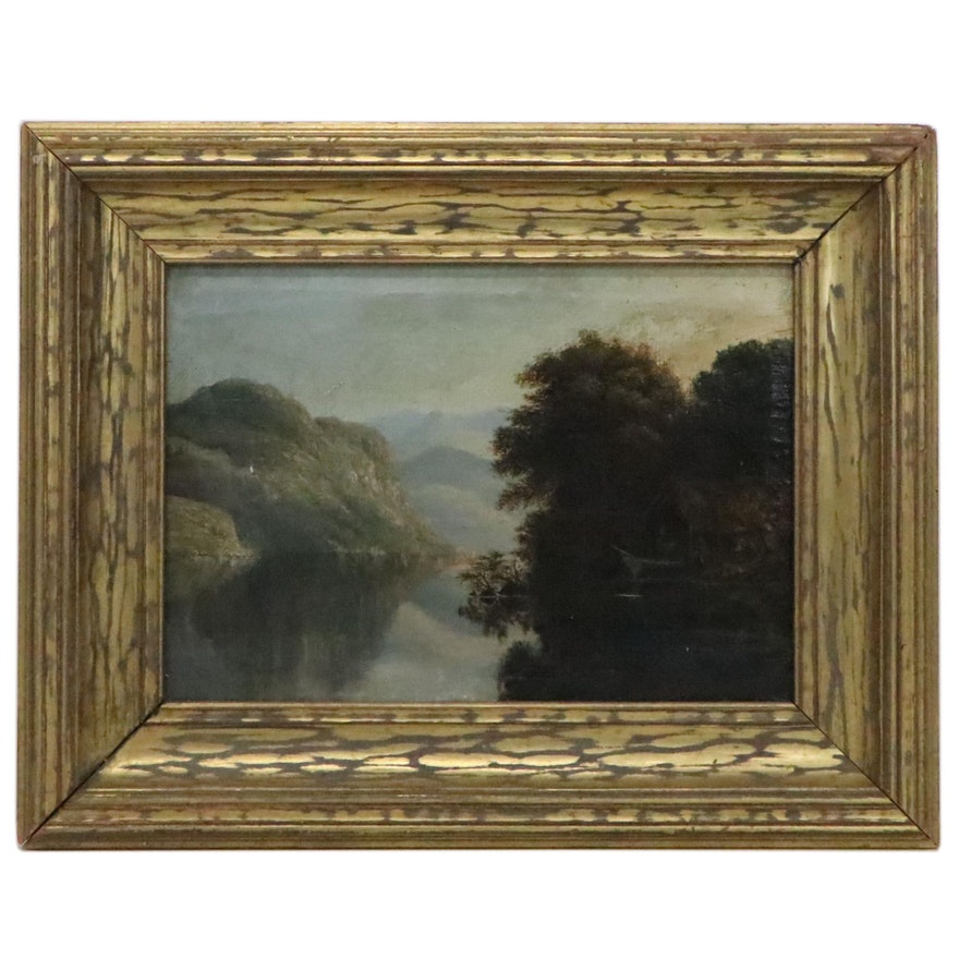 River Landscape Oil Painting, Late 19th-Early 20th Century