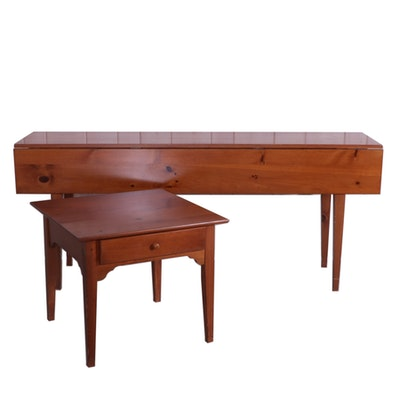 Yield House Pine Drop Leaf Sofa Table and Side Table