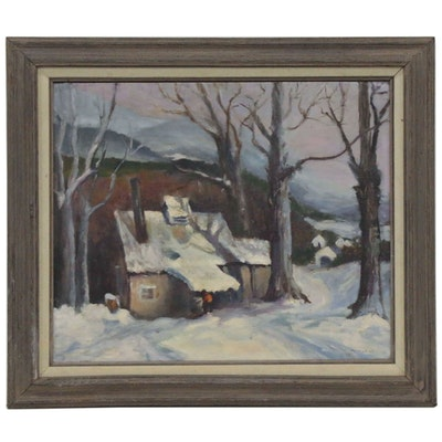 Marian Hirschel Winter Landscape Oil Painting, 1988