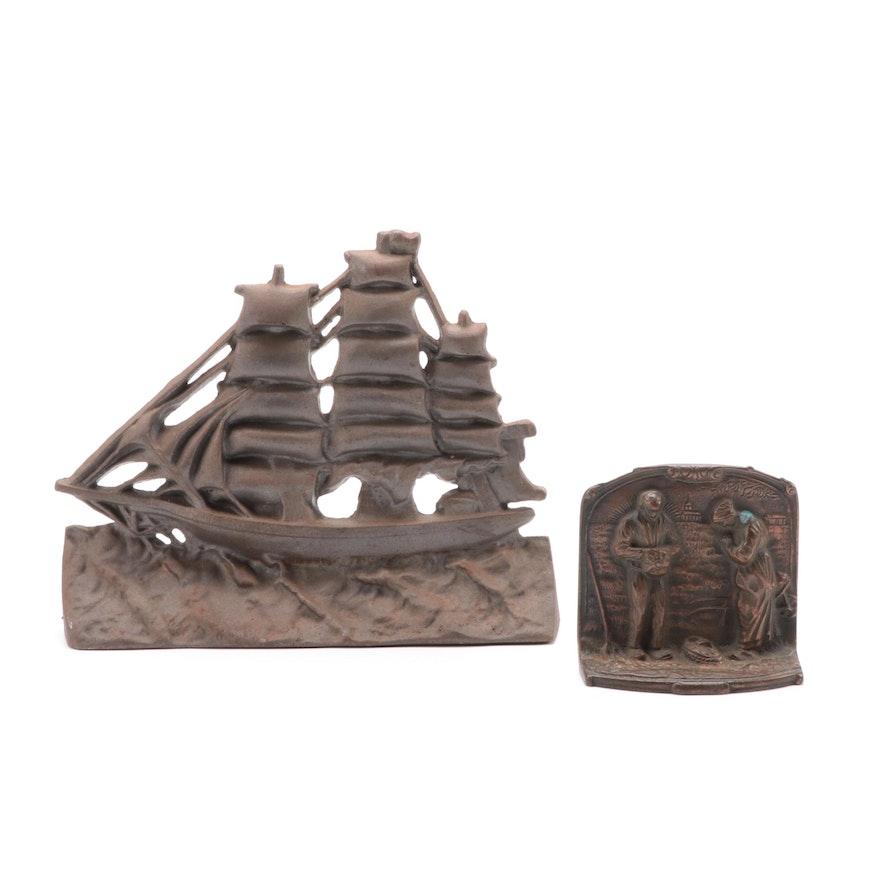 Cast Iron Clipper Ship  and Bronze Clad Rural Scene Doorstops