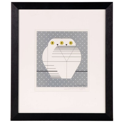 "Charley Harper Lithograph ""Twowls"", Late 20th Century"