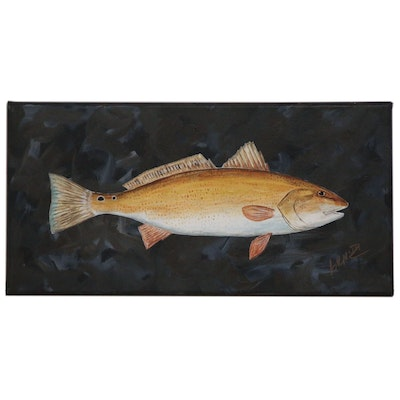 "George McElveen Wildlife Art Acrylic Painting ""Red Drum"", 2020"