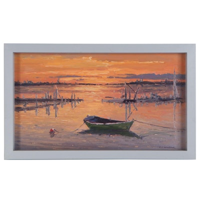 "Robert Alan Waltsak Oil Painting ""Sunset"", 2019"