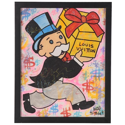 Will $treet Acrylic and Ink Painting of Mr. Monopoly, 2020