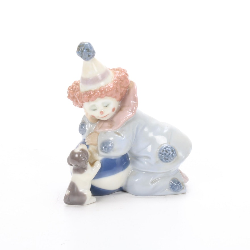 """Lladró """"Pierrot with Puppy & Ball"""" Porcelain Figurine Designed by José Puche"""
