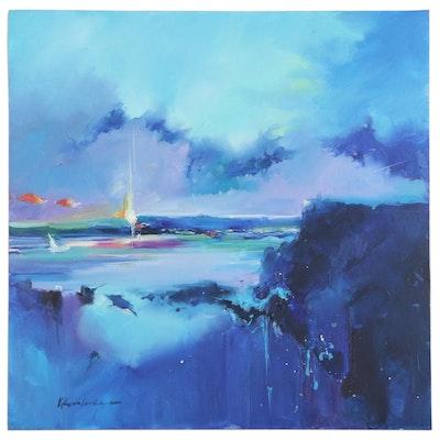 "Victor Kovalenko Abstract Seascape Oil Painting ""Ray of Sun"", 2020"