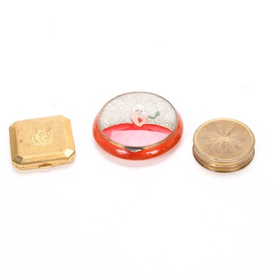 Three Vintage Compacts Including Du Barry, Mid-20th Century