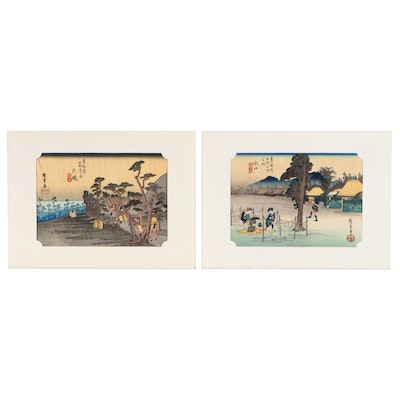 "Woodblocks after Hiroshige from ""Fifty-Three Stations of the Tokaido"""