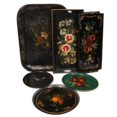 "Toleware and Other Painted Serving Trays With Couroc ""Road Runner"" Plate"