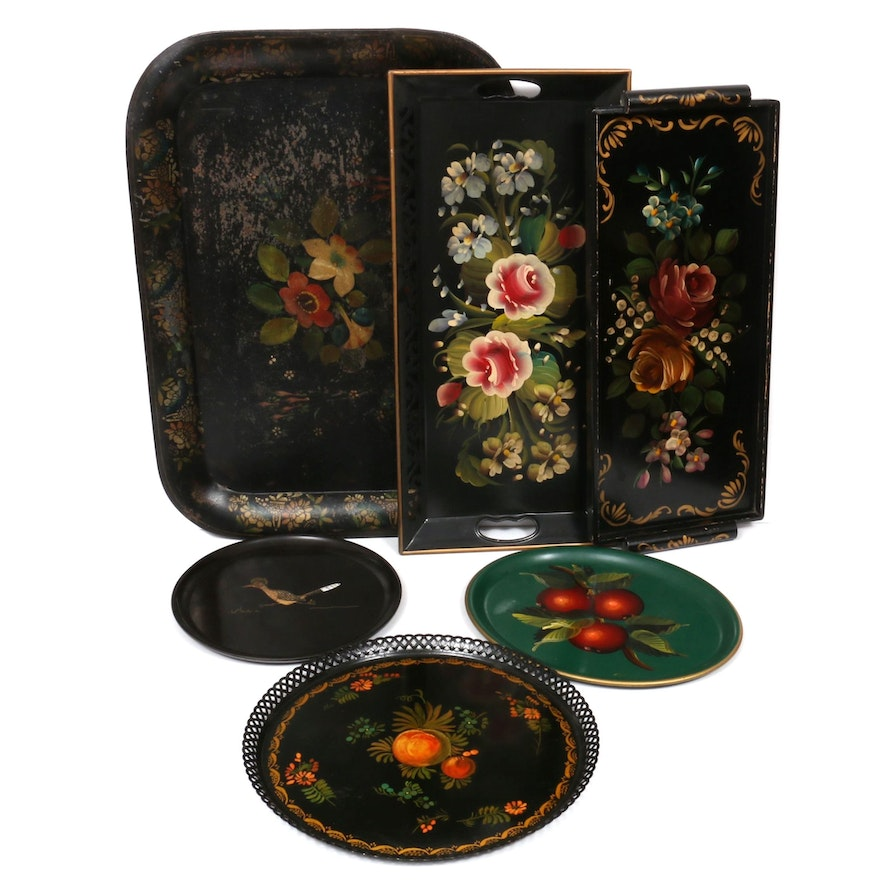 """Toleware and Other Painted Serving Trays With Couroc """"Road Runner"""" Plate"""