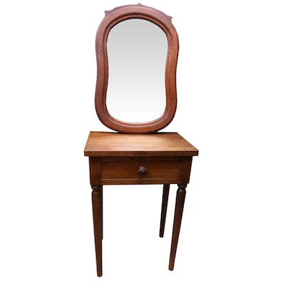 Victorian Walnut Wall Mirror and Early American Walnut Side Table, Late 19th C