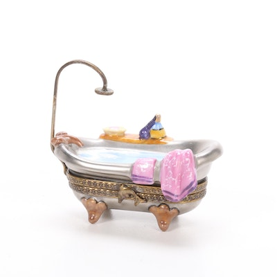 Hand-Painted French Porcelain Bathtub Limoges Box
