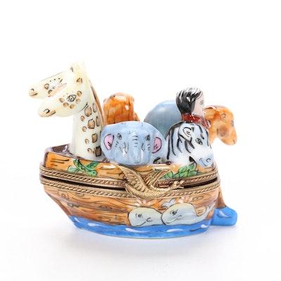 La Gloriette Hand-Painted Porcelain Noah's Ark Limoges Box