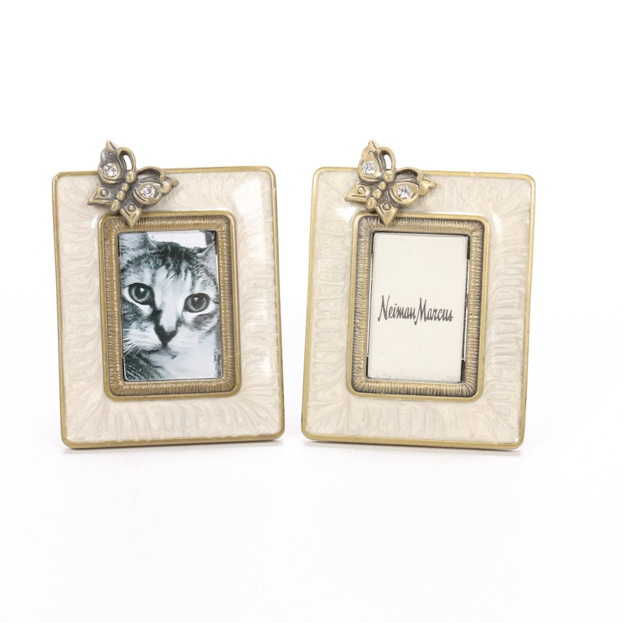 Pair of Jay Strongwater Enamel and Metal Picture Frames